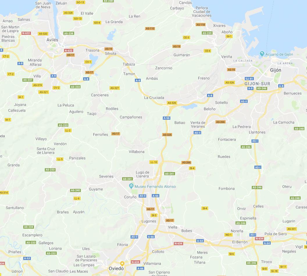 """Gijón, Oviedo y Avilés unidas por la autopista """"Y""""."""