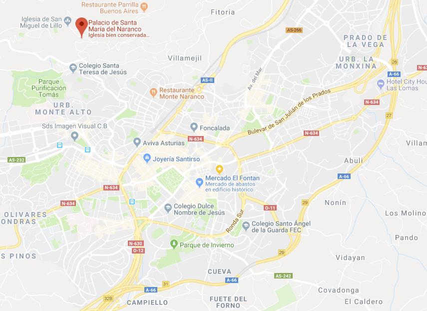 Situación de los monumentos prerrománicos al Noroeste de Oviedo.