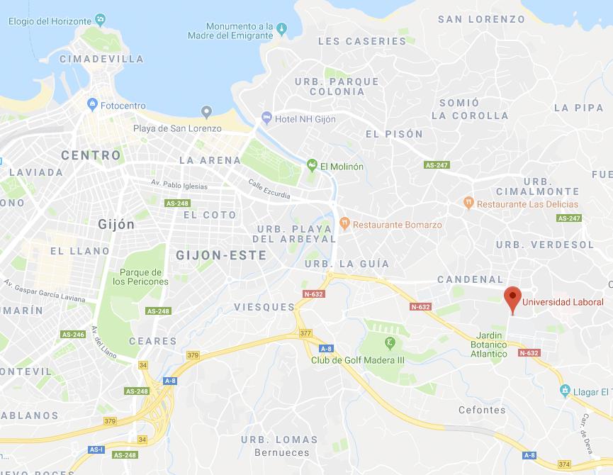 Situación de la Universidad Laboral al Este de Gijón.