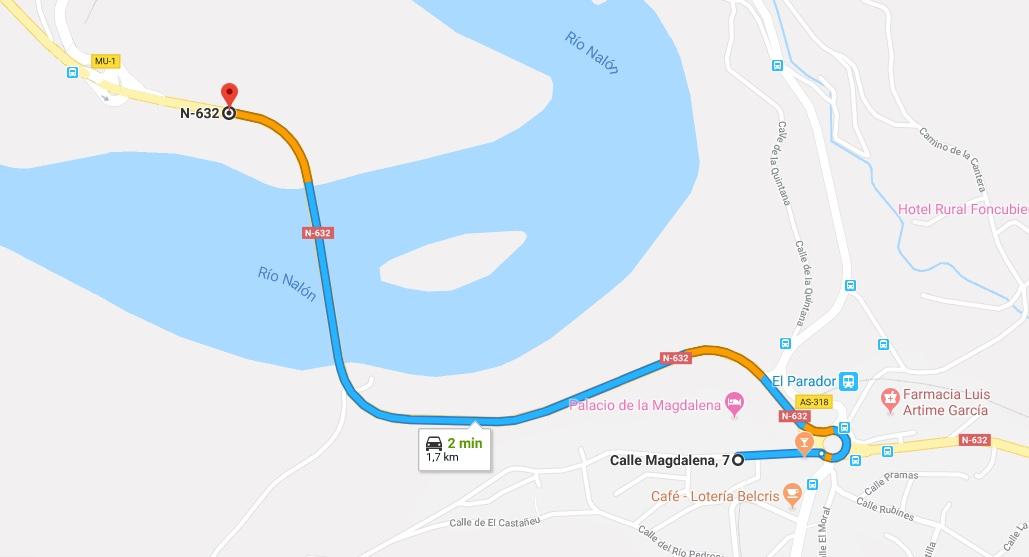 Ruta Princesa, Primer Sector, 1: Salida desde el hotel, cruzar el río Nalón y tomar la N-632.