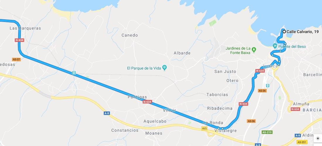 Ruta Princesa, Segundo Sector, 4: Continuamos desde Luarca por la N634 en dirección Galicia.