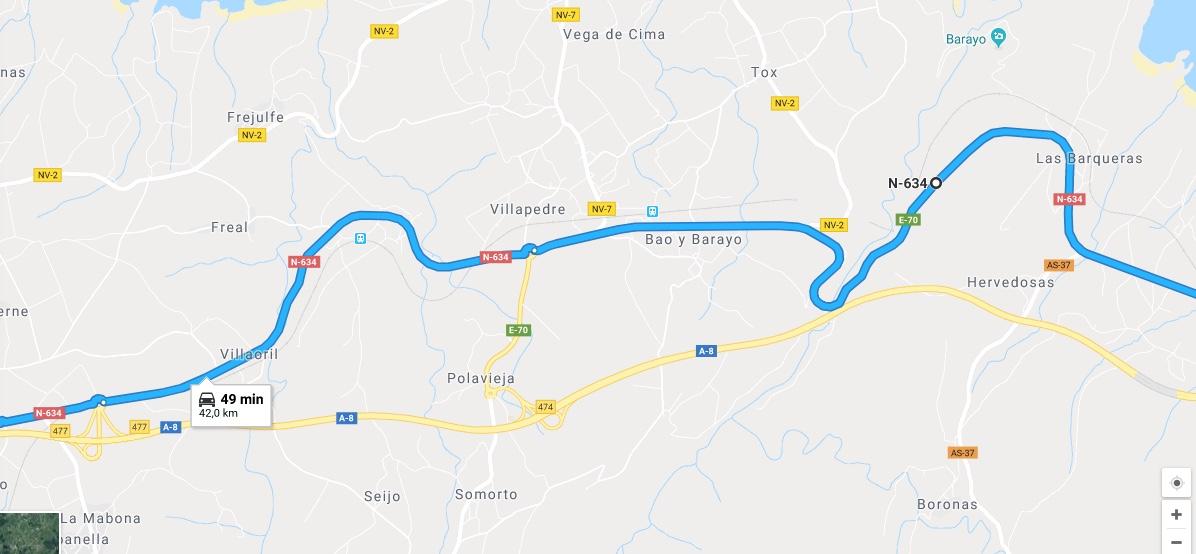 Ruta Princesa, Segundo Sector, 5: Continuamos por la N634 en dirección Galicia.
