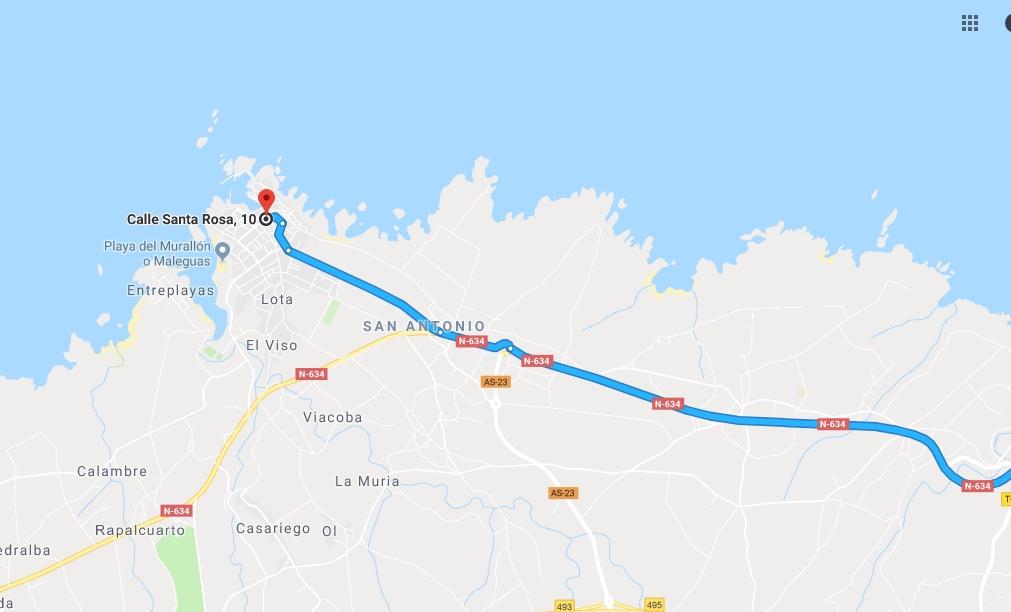 Ruta Princesa, Segundo Sector, 9: Continuamos por la N634 en dirección Galicia y a la altura de San Antonio llegamos finalmente a Tapia de Casariego.
