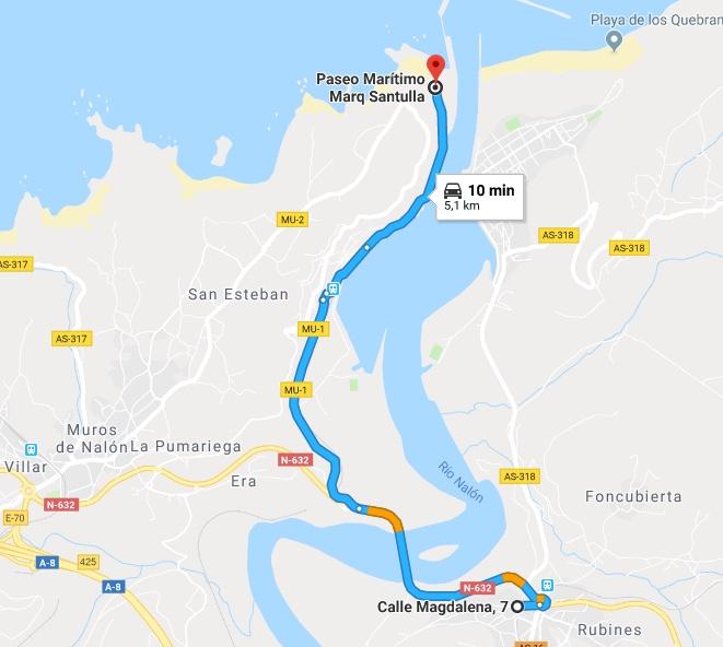 Ruta Princesa, Primer Sector, 2: Paramos en San Esteban de Pravia y continuamos hasta el final para dar la vuelta.