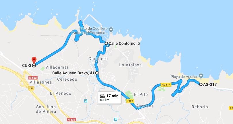 Ruta Princesa, Primer Sector, 4: Desde la Playa del Aguilar vamos por la CU-2 hasta bajar a Cudillero. Lo abandonamos más tarde por la CU-3.