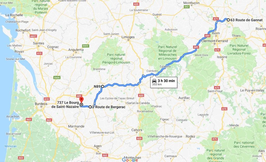 Desde las afueras de Vichy hasta orillas de la Dordogne.